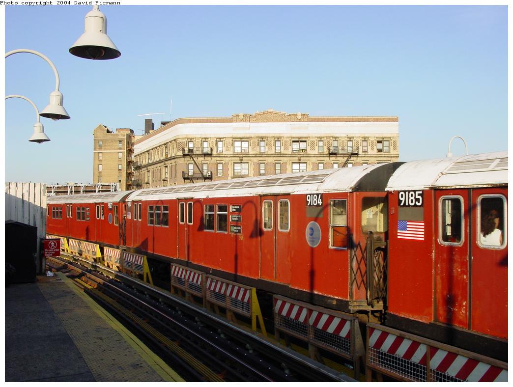 (116k, 1044x788)<br><b>Country:</b> United States<br><b>City:</b> New York<br><b>System:</b> New York City Transit<br><b>Line:</b> IRT White Plains Road Line<br><b>Location:</b> Simpson Street <br><b>Route:</b> 5<br><b>Car:</b> R-33 Main Line (St. Louis, 1962-63) 9184 <br><b>Photo by:</b> David Pirmann<br><b>Date:</b> 8/21/2002<br><b>Viewed (this week/total):</b> 0 / 4533