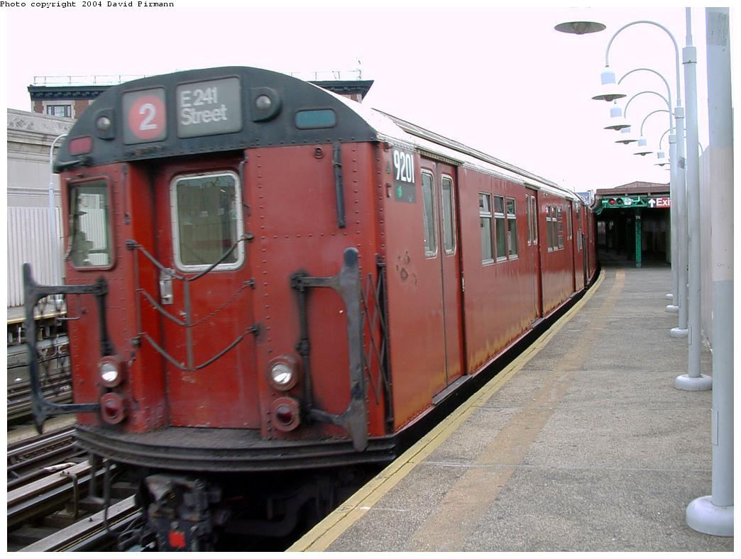 (117k, 1044x788)<br><b>Country:</b> United States<br><b>City:</b> New York<br><b>System:</b> New York City Transit<br><b>Line:</b> IRT White Plains Road Line<br><b>Location:</b> 174th Street <br><b>Route:</b> 2<br><b>Car:</b> R-33 Main Line (St. Louis, 1962-63) 9201 <br><b>Photo by:</b> David Pirmann<br><b>Date:</b> 7/3/2001<br><b>Viewed (this week/total):</b> 0 / 5234