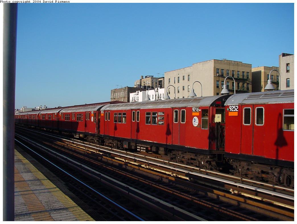 (109k, 1044x788)<br><b>Country:</b> United States<br><b>City:</b> New York<br><b>System:</b> New York City Transit<br><b>Line:</b> IRT Woodlawn Line<br><b>Location:</b> Mt. Eden Avenue <br><b>Route:</b> 4<br><b>Car:</b> R-33 Main Line (St. Louis, 1962-63) 9216 <br><b>Photo by:</b> David Pirmann<br><b>Date:</b> 7/12/2001<br><b>Viewed (this week/total):</b> 9 / 5094