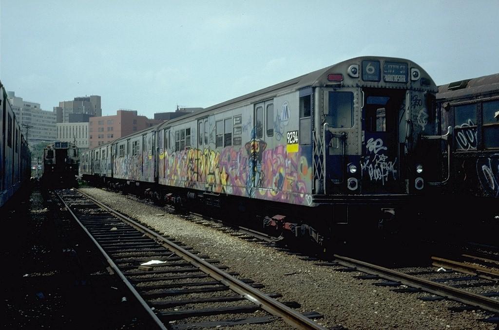 (206k, 1024x678)<br><b>Country:</b> United States<br><b>City:</b> New York<br><b>System:</b> New York City Transit<br><b>Location:</b> Westchester Yard<br><b>Car:</b> R-33 Main Line (St. Louis, 1962-63) 9234 <br><b>Photo by:</b> Steve Zabel<br><b>Collection of:</b> Joe Testagrose<br><b>Date:</b> 6/6/1981<br><b>Viewed (this week/total):</b> 0 / 6694