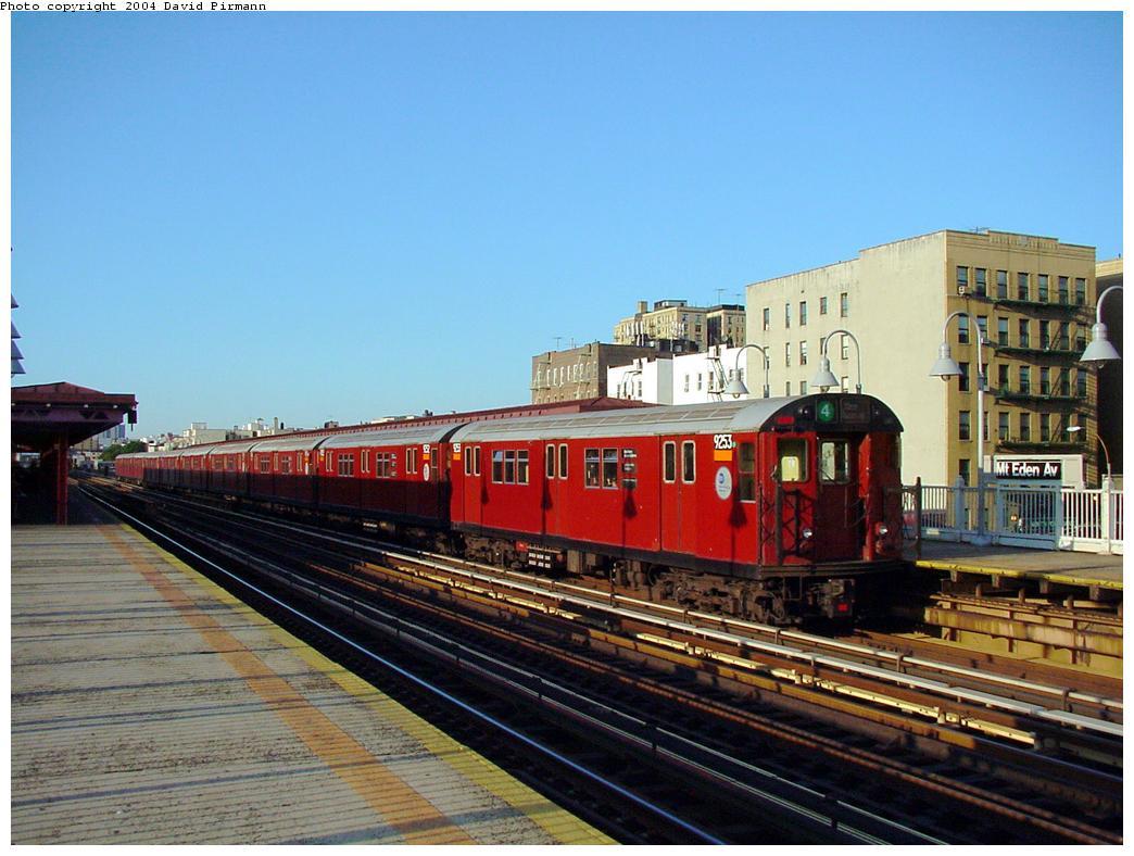 (127k, 1044x788)<br><b>Country:</b> United States<br><b>City:</b> New York<br><b>System:</b> New York City Transit<br><b>Line:</b> IRT Woodlawn Line<br><b>Location:</b> Mt. Eden Avenue <br><b>Route:</b> 4<br><b>Car:</b> R-33 Main Line (St. Louis, 1962-63) 9253 <br><b>Photo by:</b> David Pirmann<br><b>Date:</b> 7/12/2001<br><b>Viewed (this week/total):</b> 0 / 5123