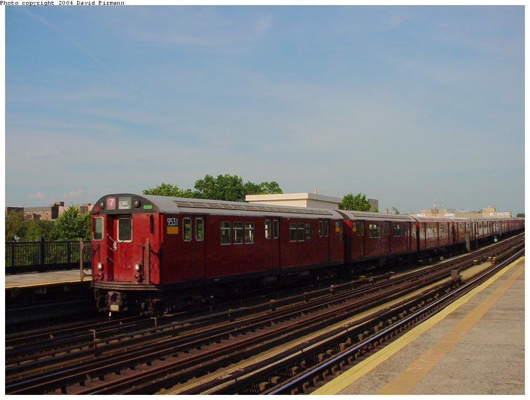 (98k, 1044x788)<br><b>Country:</b> United States<br><b>City:</b> New York<br><b>System:</b> New York City Transit<br><b>Line:</b> IRT Flushing Line<br><b>Location:</b> 69th Street/Fisk Avenue <br><b>Route:</b> 7<br><b>Car:</b> R-36 Main Line (St. Louis, 1964) 9531 <br><b>Photo by:</b> David Pirmann<br><b>Date:</b> 7/16/2001<br><b>Viewed (this week/total):</b> 2 / 2600