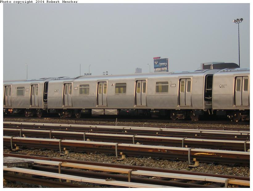(96k, 820x620)<br><b>Country:</b> United States<br><b>City:</b> New York<br><b>System:</b> New York City Transit<br><b>Location:</b> Coney Island Yard<br><b>Car:</b> R-110B (Bombardier, 1992) 3005 <br><b>Photo by:</b> Robert Mencher<br><b>Date:</b> 5/12/2004<br><b>Viewed (this week/total):</b> 2 / 3823
