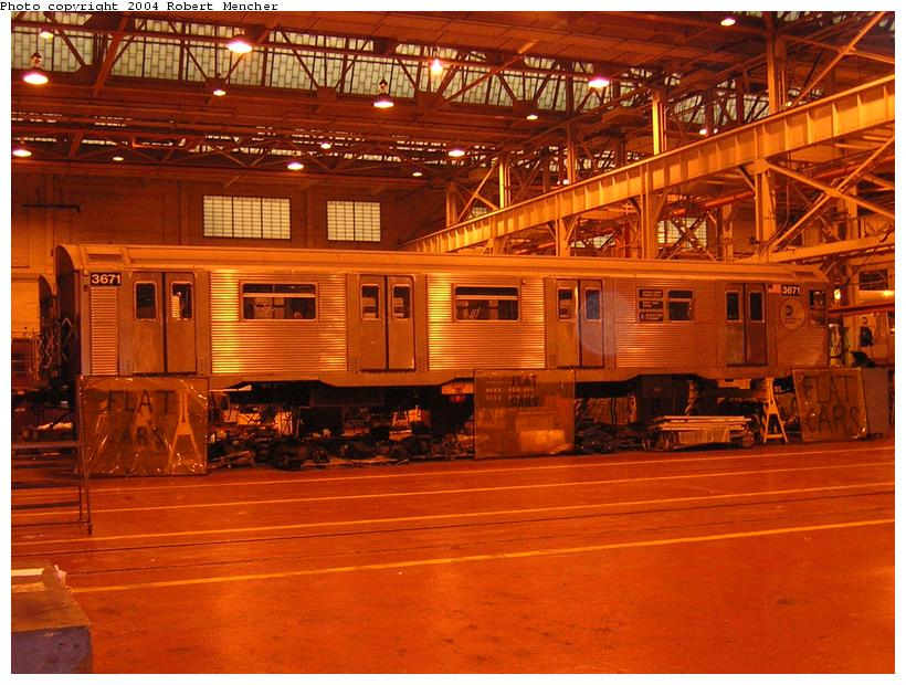 (135k, 820x620)<br><b>Country:</b> United States<br><b>City:</b> New York<br><b>System:</b> New York City Transit<br><b>Location:</b> Coney Island Shop/Overhaul & Repair Shop<br><b>Car:</b> R-32 (Budd, 1964)  3671 <br><b>Photo by:</b> Robert Mencher<br><b>Date:</b> 5/12/2004<br><b>Viewed (this week/total):</b> 0 / 3177