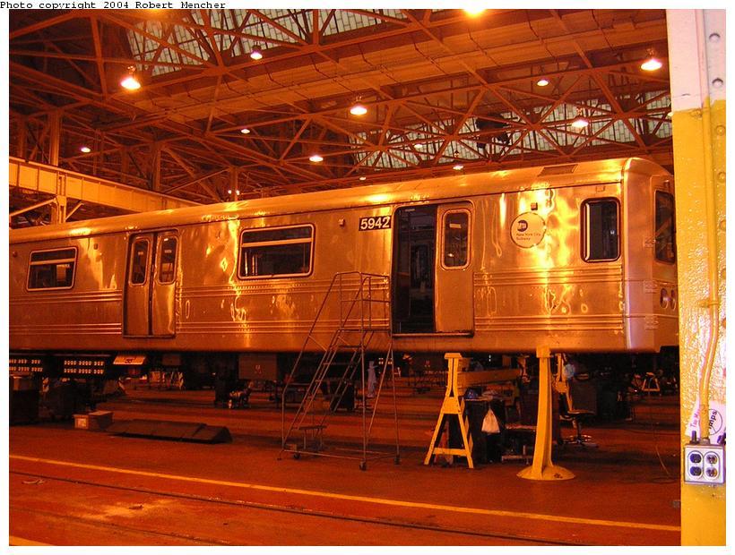 (136k, 820x620)<br><b>Country:</b> United States<br><b>City:</b> New York<br><b>System:</b> New York City Transit<br><b>Location:</b> Coney Island Shop/Overhaul & Repair Shop<br><b>Car:</b> R-46 (Pullman-Standard, 1974-75) 5942 <br><b>Photo by:</b> Robert Mencher<br><b>Date:</b> 5/12/2004<br><b>Viewed (this week/total):</b> 0 / 2549