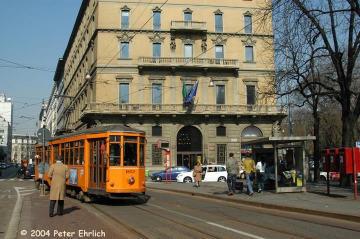 (196k, 720x478)<br><b>Country:</b> Italy<br><b>City:</b> Milan<br><b>System:</b> Azienda Trasporti Milanesi (ATM)<br><b>Location:</b> Cavour <br><b>Route:</b> 1<br><b>Car:</b> Milan Milano/Peter Witt (1927-1930)  1852 <br><b>Photo by:</b> Peter Ehrlich<br><b>Date:</b> 3/16/2004<br><b>Viewed (this week/total):</b> 4 / 1514
