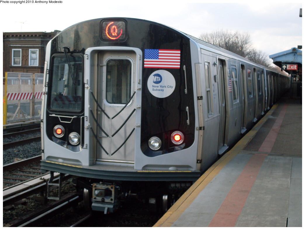 (212k, 1044x788)<br><b>Country:</b> United States<br><b>City:</b> New York<br><b>System:</b> New York City Transit<br><b>Line:</b> BMT Brighton Line<br><b>Location:</b> Neck Road <br><b>Route:</b> Q<br><b>Car:</b> R-160B (Option 1) (Kawasaki, 2008-2009)  9167 <br><b>Photo by:</b> Anthony Modesto<br><b>Date:</b> 3/22/2009<br><b>Viewed (this week/total):</b> 3 / 1318