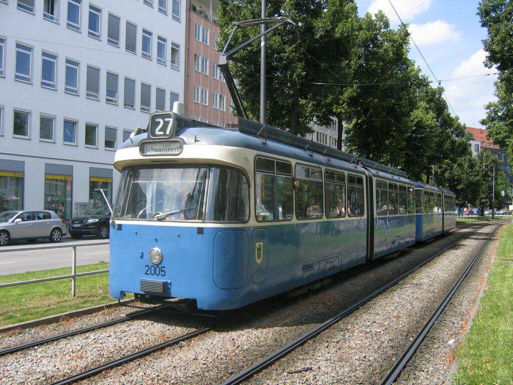 (196k, 1024x768)<br><b>Country:</b> Germany<br><b>City:</b> Munich<br><b>System:</b> MVG (Munchener Verkehrsgesellschaft)<br><b>Location:</b> Sonnenstrasse <br><b>Route:</b> 27<br><b>Car:</b> Rathgeber Type P  2005 + 3037 <br><b>Photo by:</b> Jos Straathof<br><b>Date:</b> 8/14/2008<br><b>Viewed (this week/total):</b> 1 / 764