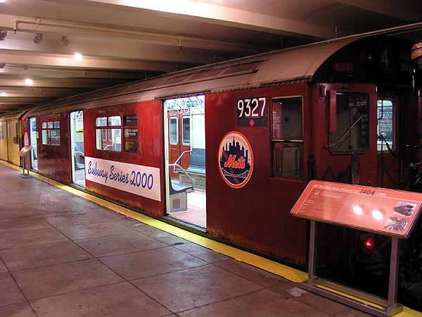 (71k, 600x450)<br><b>Country:</b> United States<br><b>City:</b> New York<br><b>System:</b> New York City Transit<br><b>Location:</b> New York Transit Museum<br><b>Car:</b> R-33 World's Fair (St. Louis, 1963-64) 9327 <br><b>Photo by:</b> Trevor Logan<br><b>Date:</b> 5/16/2004<br><b>Notes:</b> Mets end of subway series car<br><b>Viewed (this week/total):</b> 1 / 11035