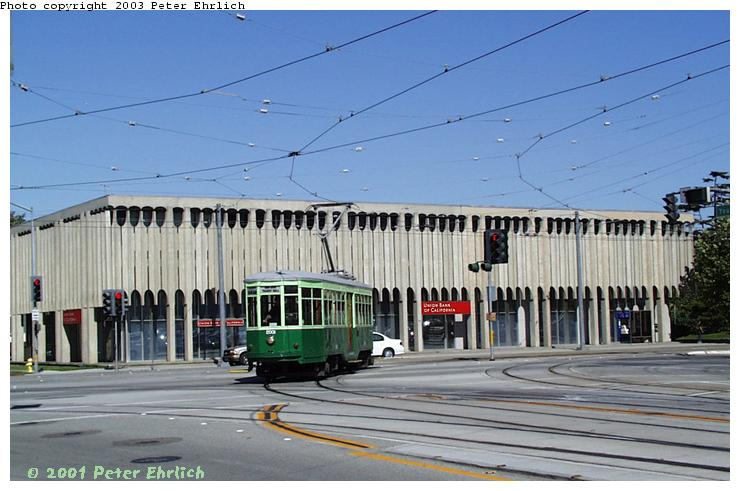 (66k, 740x491)<br><b>Country:</b> United States<br><b>City:</b> San Jose, CA<br><b>System:</b> Santa Clara VTA<br><b>Line:</b> VTA 1st St/Downtown/St. Teresa<br><b>Location:</b> N. 1st & Younger (Yard Leads) <br><b>Car:</b> Milan Milano/Peter Witt (1927-1930)  2001 <br><b>Photo by:</b> Peter Ehrlich<br><b>Date:</b> 8/2/2001<br><b>Notes:</b> Turning into Younger Street, Milan 2001 was rebuilt as a double-end Peter Witt by the San Jose TrolleyCorp.<br><b>Viewed (this week/total):</b> 11 / 2681