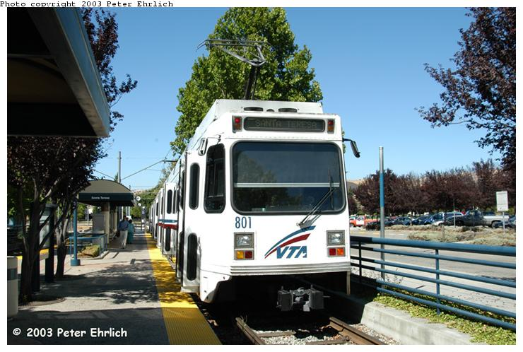 (81k, 740x498)<br><b>Country:</b> United States<br><b>City:</b> San Jose, CA<br><b>System:</b> Santa Clara VTA<br><b>Line:</b> VTA 1st St/Downtown/St. Teresa<br><b>Location:</b> Santa Teresa <br><b>Car:</b> VTA UTDC 801 <br><b>Photo by:</b> Peter Ehrlich<br><b>Date:</b> 8/7/2003<br><b>Viewed (this week/total):</b> 2 / 1738