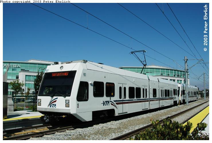 (63k, 740x498)<br><b>Country:</b> United States<br><b>City:</b> San Jose, CA<br><b>System:</b> Santa Clara VTA<br><b>Line:</b> VTA Tasman West/Mountain View<br><b>Location:</b> Moffett Park <br><b>Car:</b> VTA Kinki-Sharyo 901 <br><b>Photo by:</b> Peter Ehrlich<br><b>Date:</b> 8/28/2003<br><b>Notes:</b> New station (opened in 2002).<br><b>Viewed (this week/total):</b> 0 / 1972