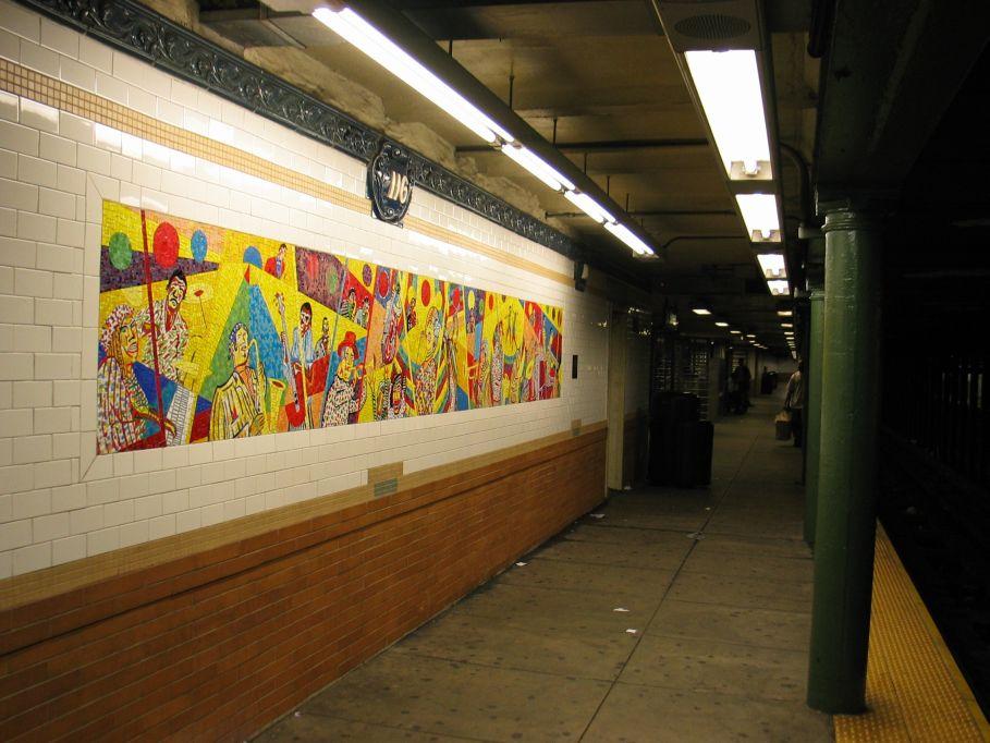 (105k, 909x682)<br><b>Country:</b> United States<br><b>City:</b> New York<br><b>System:</b> New York City Transit<br><b>Line:</b> IRT Lenox Line<br><b>Location:</b> 116th Street <br><b>Photo by:</b> Brian Weinberg<br><b>Date:</b> 5/17/2004<br><b>Artwork:</b> <i>Minton's Playhouse/Movers and Shakers</i>, Vincent Smith (1999).<br><b>Viewed (this week/total):</b> 0 / 4080