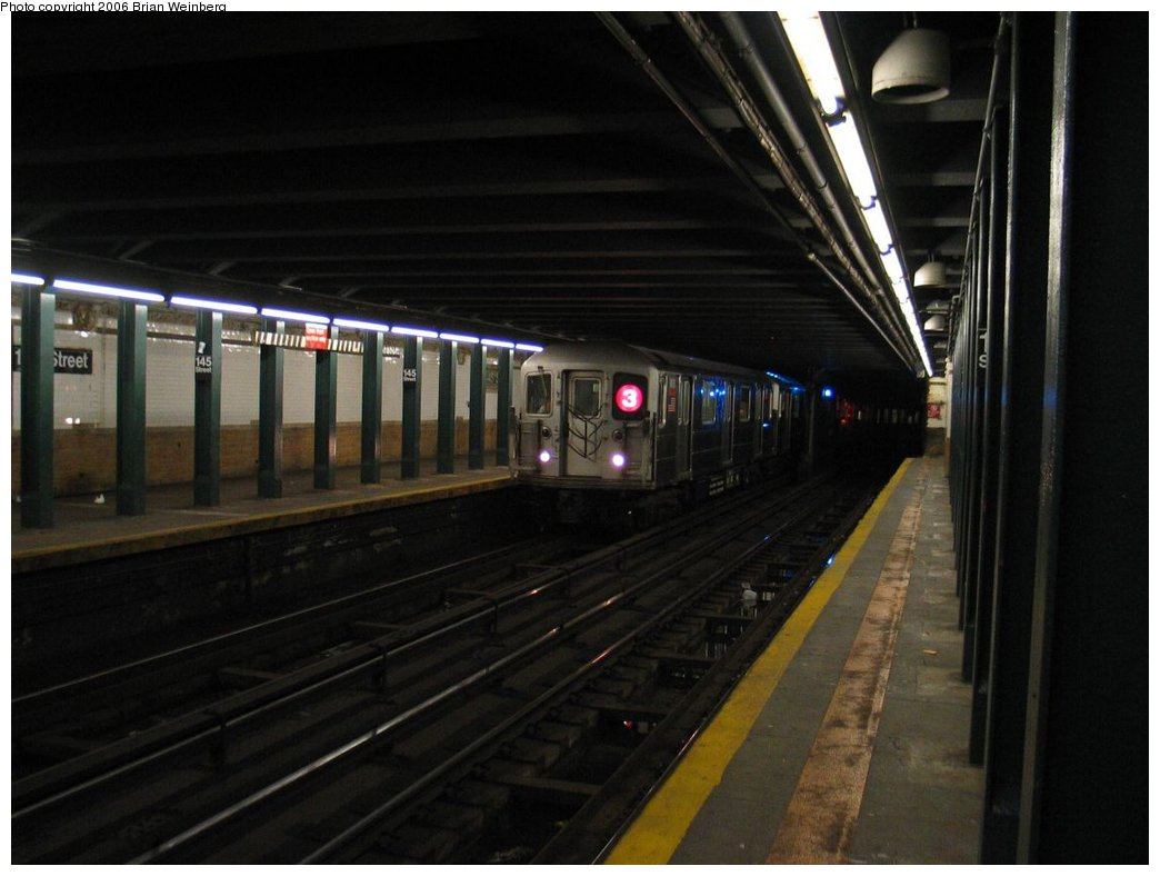 (126k, 1044x788)<br><b>Country:</b> United States<br><b>City:</b> New York<br><b>System:</b> New York City Transit<br><b>Line:</b> IRT Lenox Line<br><b>Location:</b> 145th Street <br><b>Route:</b> 3<br><b>Car:</b> R-62 (Kawasaki, 1983-1985)  1450 <br><b>Photo by:</b> Brian Weinberg<br><b>Date:</b> 5/17/2004<br><b>Viewed (this week/total):</b> 0 / 6499