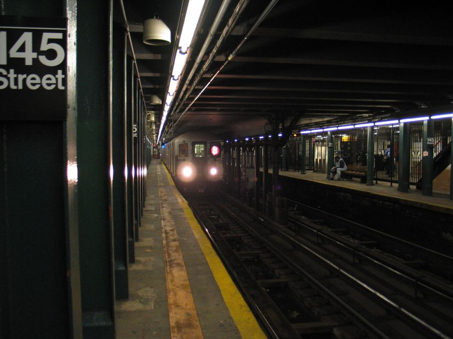 (85k, 909x682)<br><b>Country:</b> United States<br><b>City:</b> New York<br><b>System:</b> New York City Transit<br><b>Line:</b> IRT Lenox Line<br><b>Location:</b> 145th Street <br><b>Route:</b> 3<br><b>Car:</b> R-62A (Bombardier, 1984-1987)  1954 <br><b>Photo by:</b> Brian Weinberg<br><b>Date:</b> 5/17/2004<br><b>Viewed (this week/total):</b> 1 / 6982