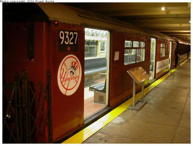 (99k, 820x620)<br><b>Country:</b> United States<br><b>City:</b> New York<br><b>System:</b> New York City Transit<br><b>Location:</b> New York Transit Museum<br><b>Car:</b> R-33 World's Fair (St. Louis, 1963-64) 9327 <br><b>Photo by:</b> Frank Hicks<br><b>Date:</b> 5/18/2004<br><b>Notes:</b> Yankees end of subway series car<br><b>Viewed (this week/total):</b> 4 / 5862