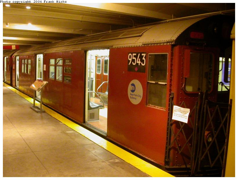 (105k, 820x620)<br><b>Country:</b> United States<br><b>City:</b> New York<br><b>System:</b> New York City Transit<br><b>Location:</b> New York Transit Museum<br><b>Car:</b> R-36 Main Line (St. Louis, 1964) 9543 <br><b>Photo by:</b> Frank Hicks<br><b>Date:</b> 5/18/2004<br><b>Viewed (this week/total):</b> 3 / 8840