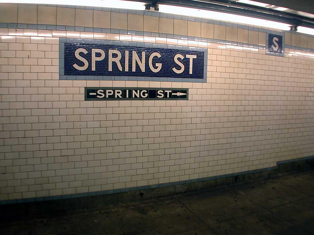 (77k, 1024x768)<br><b>Country:</b> United States<br><b>City:</b> New York<br><b>System:</b> New York City Transit<br><b>Line:</b> IRT East Side Line<br><b>Location:</b> Spring Street <br><b>Photo by:</b> Josh Lubchansky<br><b>Date:</b> 5/2004<br><b>Notes:</b> Name tablet, Heins & LaFarge/Manhattan Glass Tile Company, 1904. Original design element, Contract 1 IRT.<br><b>Viewed (this week/total):</b> 0 / 2359