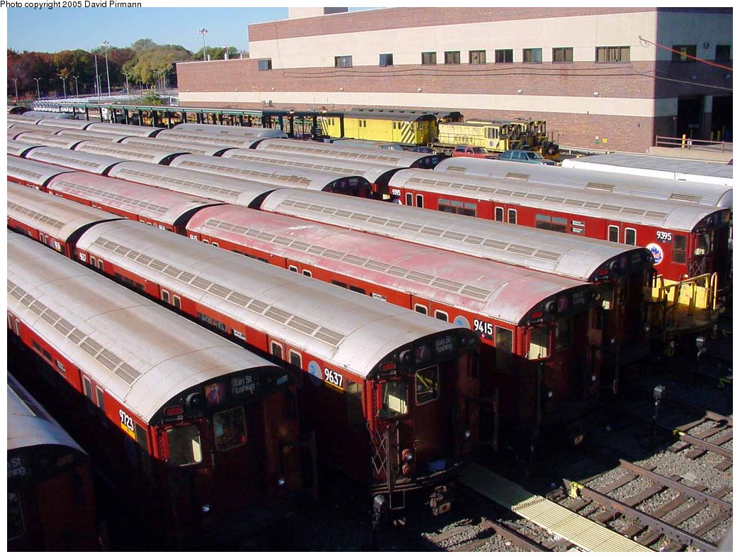 (200k, 1044x788)<br><b>Country:</b> United States<br><b>City:</b> New York<br><b>System:</b> New York City Transit<br><b>Location:</b> Corona Yard<br><b>Car:</b> R-36 World's Fair (St. Louis, 1963-64) 9723-9637-9415 <br><b>Photo by:</b> David Pirmann<br><b>Date:</b> 11/11/2001<br><b>Viewed (this week/total):</b> 1 / 3301