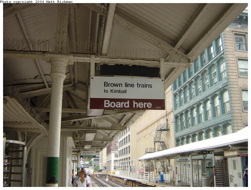 (92k, 820x620)<br><b>Country:</b> United States<br><b>City:</b> Chicago, IL<br><b>System:</b> Chicago Transit Authority<br><b>Line:</b> CTA Loop<br><b>Location:</b> State/Lake<br><b>Photo by:</b> Matt Richman<br><b>Date:</b> 6/29/2003<br><b>Notes:</b> Standard loop signage.<br><b>Viewed (this week/total):</b> 2 / 1544
