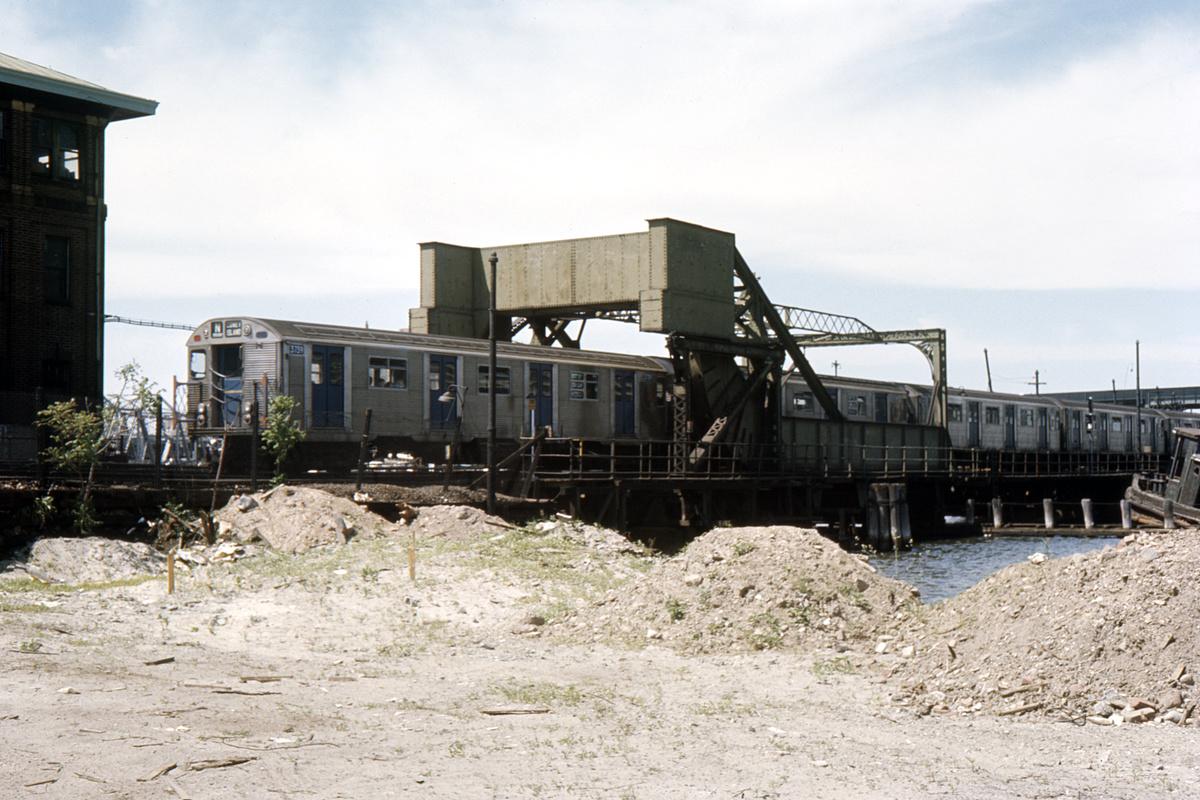 (433k, 1024x683)<br><b>Country:</b> United States<br><b>City:</b> New York<br><b>System:</b> New York City Transit<br><b>Location:</b> Coney Island Creek Bridge<br><b>Car:</b> R-32 (Budd, 1964)  3739 <br><b>Collection of:</b> David Pirmann<br><b>Date:</b> 6/25/1966<br><b>Viewed (this week/total):</b> 1 / 2704