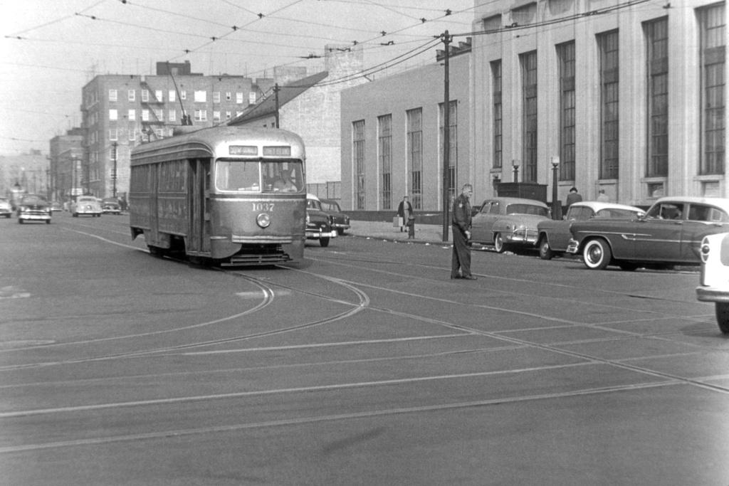 (237k, 1024x683)<br><b>Country:</b> United States<br><b>City:</b> New York<br><b>System:</b> Brooklyn & Queens Transit<br><b>Line:</b> 50/McDonald<br><b>Location:</b> McDonald Ave/Church Ave<br><b>Car:</b> Brooklyn & Queens Transit PCC (St. Louis Car, 1936) 1037 <br><b>Collection of:</b> David Pirmann<br><b>Notes:</b> Car sb on McDonald north of Church<br><b>Viewed (this week/total):</b> 0 / 1429
