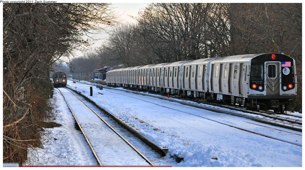 (317k, 1044x582)<br><b>Country:</b> United States<br><b>City:</b> New York<br><b>System:</b> New York City Transit<br><b>Line:</b> BMT Brighton Line<br><b>Location:</b> Avenue U <br><b>Route:</b> Q<br><b>Car:</b> R-160B (Option 1) (Kawasaki, 2008-2009)  8993 <br><b>Photo by:</b> Zach Summer<br><b>Date:</b> 12/30/2010<br><b>Notes:</b> With R68 2838 on B<br><b>Viewed (this week/total):</b> 0 / 1208