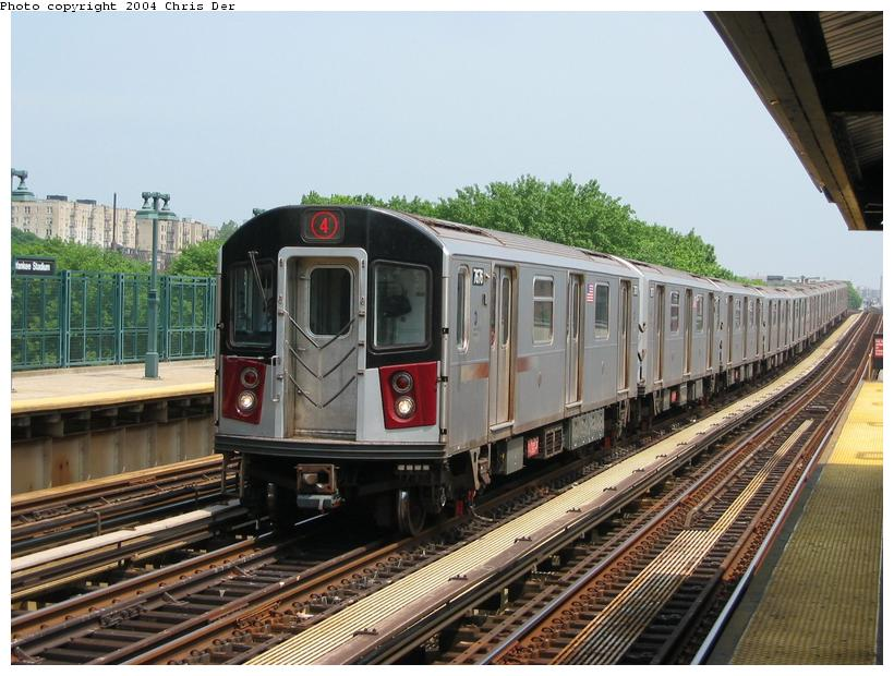 (91k, 820x620)<br><b>Country:</b> United States<br><b>City:</b> New York<br><b>System:</b> New York City Transit<br><b>Line:</b> IRT Woodlawn Line<br><b>Location:</b> 161st Street/River Avenue (Yankee Stadium) <br><b>Route:</b> 4<br><b>Car:</b> R-142A (Option Order, Kawasaki, 2002-2003)  7676 <br><b>Photo by:</b> Chris Der<br><b>Date:</b> 5/24/2004<br><b>Viewed (this week/total):</b> 0 / 4778