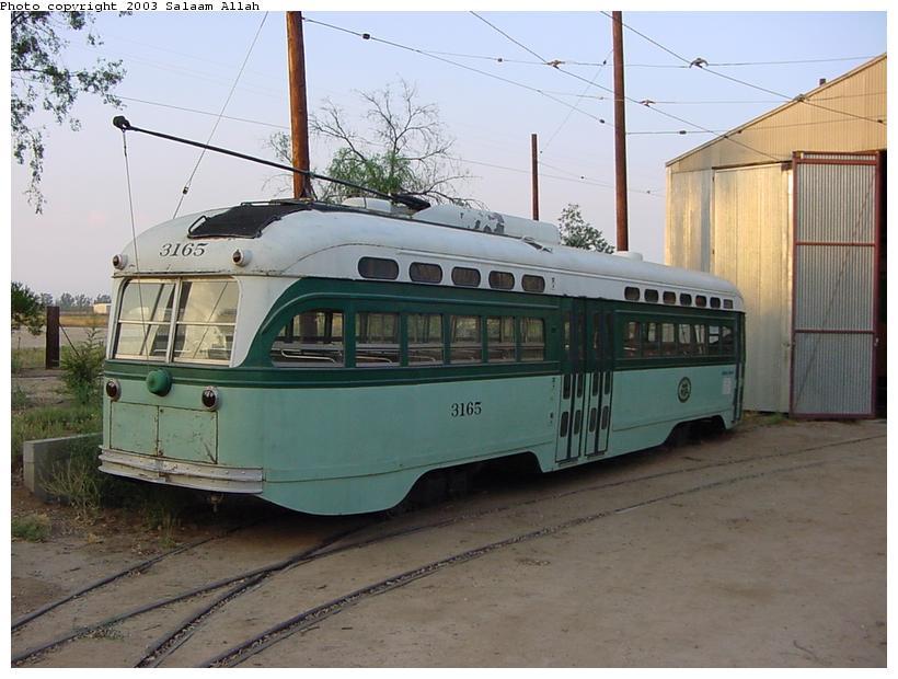 (78k, 820x620)<br><b>Country:</b> United States<br><b>City:</b> Perris, CA<br><b>System:</b> Orange Empire Railway Museum <br><b>Car:</b> PCC  3165 <br><b>Photo by:</b> Salaam Allah<br><b>Date:</b> 7/27/2003<br><b>Viewed (this week/total):</b> 1 / 2632