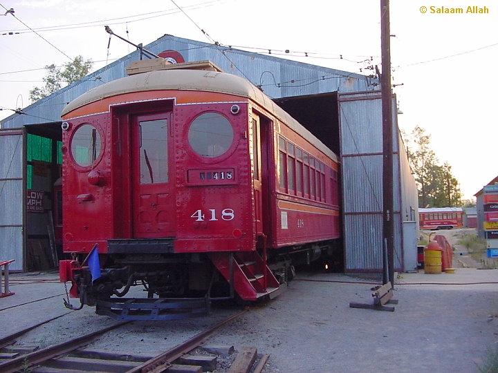 (249k, 720x540)<br><b>Country:</b> United States<br><b>City:</b> Perris, CA<br><b>System:</b> Orange Empire Railway Museum <br><b>Car:</b> Pacific Electric Blimp Interurban (Pullman, 1913)  418 <br><b>Photo by:</b> Salaam Allah<br><b>Date:</b> 7/27/2003<br><b>Viewed (this week/total):</b> 0 / 1805