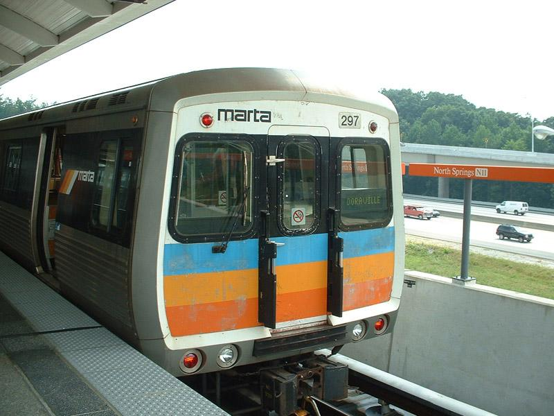 (87k, 800x600)<br><b>Country:</b> United States<br><b>City:</b> Atlanta, GA<br><b>System:</b> MARTA<br><b>Line:</b> North Springs Branch <br><b>Location:</b> North Springs <br><b>Car:</b> MARTA 297 <br><b>Photo by:</b> Robert Ferreira<br><b>Date:</b> 6/26/2002<br><b>Notes:</b> Wrong destination on front sign, should have read North Springs. This car has been refitted with AC propulsion since at least early 2003.<br><b>Viewed (this week/total):</b> 0 / 3330