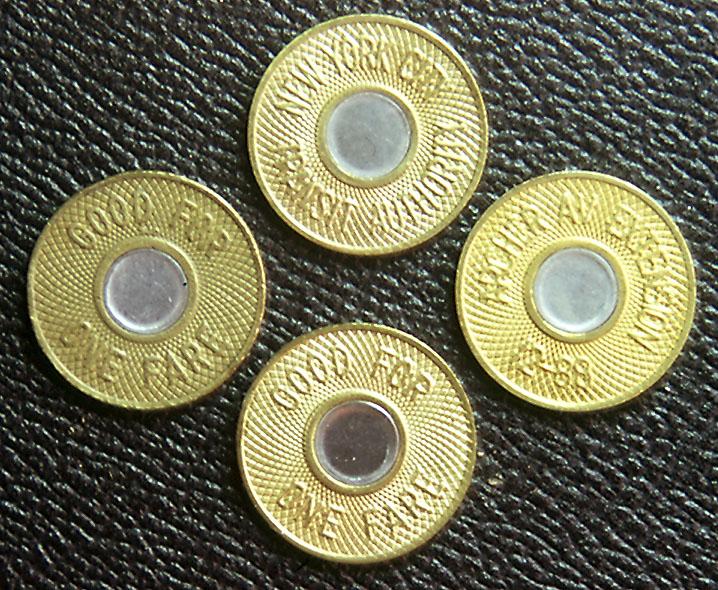 (212k, 718x590)<br><b>Country:</b> United States<br><b>City:</b> New York<br><b>System:</b> New York City Transit<br><b>Collection of:</b> George Cuhaj<br><b>Notes:</b> 1986 NYCTA Bullseye tokens<br><b>Viewed (this week/total):</b> 6 / 9522