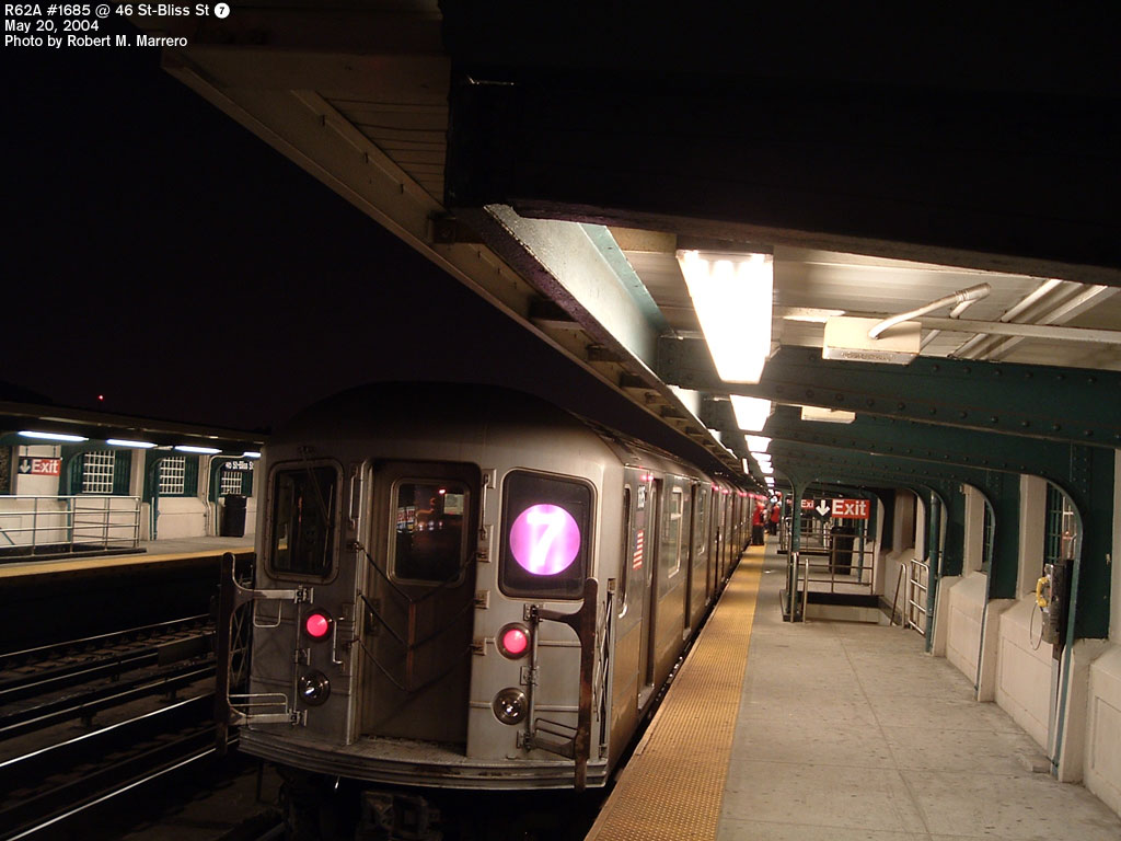 (132k, 1024x768)<br><b>Country:</b> United States<br><b>City:</b> New York<br><b>System:</b> New York City Transit<br><b>Line:</b> IRT Flushing Line<br><b>Location:</b> 46th Street/Bliss Street <br><b>Route:</b> 7<br><b>Car:</b> R-62A (Bombardier, 1984-1987)  1685 <br><b>Photo by:</b> Robert Marrero<br><b>Date:</b> 5/20/2004<br><b>Viewed (this week/total):</b> 1 / 3669