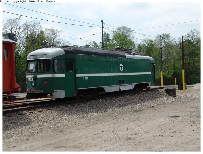 (111k, 820x620)<br><b>Country:</b> United States<br><b>City:</b> Boston, MA<br><b>System:</b> MBTA<br><b>Line:</b> MBTA Mattapan-Ashmont Line<br><b>Location:</b> Mattapan <br><b>Car:</b> MBTA/BSRy PCC Dallas Double End (Pullman-Standard, 1945)  3332 <br><b>Photo by:</b> Richard Panse<br><b>Date:</b> 5/21/2004<br><b>Notes:</b> Former Dallas Railway & Terminal 618<br><b>Viewed (this week/total):</b> 1 / 6572