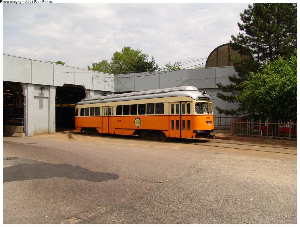 (199k, 1044x788)<br><b>Country:</b> United States<br><b>City:</b> Boston, MA<br><b>System:</b> MBTA<br><b>Line:</b> MBTA Mattapan-Ashmont Line<br><b>Location:</b> Ashmont <br><b>Car:</b> MBTA/BSRy PCC Wartime (Pullman-Standard, 1945)  3087 <br><b>Photo by:</b> Richard Panse<br><b>Date:</b> 5/21/2004<br><b>Viewed (this week/total):</b> 0 / 2303