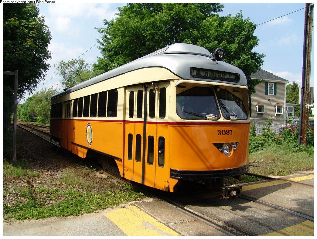 (265k, 1044x788)<br><b>Country:</b> United States<br><b>City:</b> Boston, MA<br><b>System:</b> MBTA<br><b>Line:</b> MBTA Mattapan-Ashmont Line<br><b>Location:</b> Cedar Grove <br><b>Car:</b> MBTA/BSRy PCC Wartime (Pullman-Standard, 1945)  3087 <br><b>Photo by:</b> Richard Panse<br><b>Date:</b> 5/21/2004<br><b>Viewed (this week/total):</b> 0 / 5111