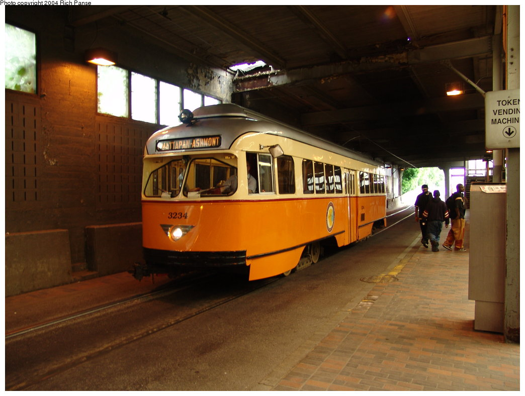 (160k, 1044x788)<br><b>Country:</b> United States<br><b>City:</b> Boston, MA<br><b>System:</b> MBTA<br><b>Line:</b> MBTA Mattapan-Ashmont Line<br><b>Location:</b> Ashmont <br><b>Car:</b> MBTA/BSRy PCC Wartime (Pullman-Standard, 1945-46)  3234 <br><b>Photo by:</b> Richard Panse<br><b>Date:</b> 5/21/2004<br><b>Viewed (this week/total):</b> 0 / 4492