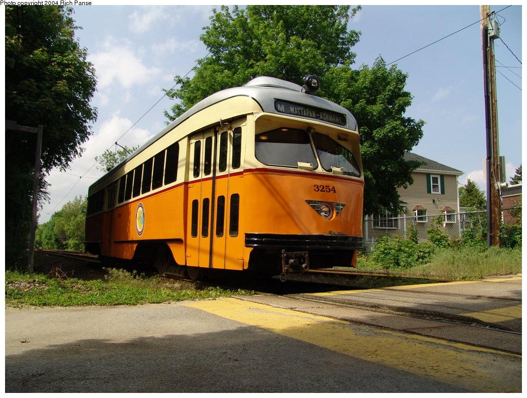 (241k, 1044x788)<br><b>Country:</b> United States<br><b>City:</b> Boston, MA<br><b>System:</b> MBTA<br><b>Line:</b> MBTA Mattapan-Ashmont Line<br><b>Location:</b> Cedar Grove <br><b>Car:</b> MBTA/BSRy PCC Wartime (Pullman-Standard, 1945-46)  3254 <br><b>Photo by:</b> Richard Panse<br><b>Date:</b> 5/21/2004<br><b>Viewed (this week/total):</b> 2 / 4083