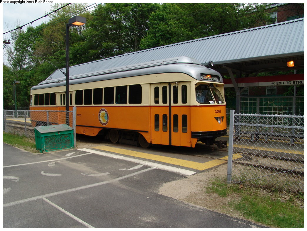(243k, 1044x788)<br><b>Country:</b> United States<br><b>City:</b> Boston, MA<br><b>System:</b> MBTA<br><b>Line:</b> MBTA Mattapan-Ashmont Line<br><b>Location:</b> Butler Street <br><b>Car:</b> MBTA/BSRy PCC Wartime (Pullman-Standard, 1945-46)  3263 <br><b>Photo by:</b> Richard Panse<br><b>Date:</b> 5/21/2004<br><b>Viewed (this week/total):</b> 1 / 4657