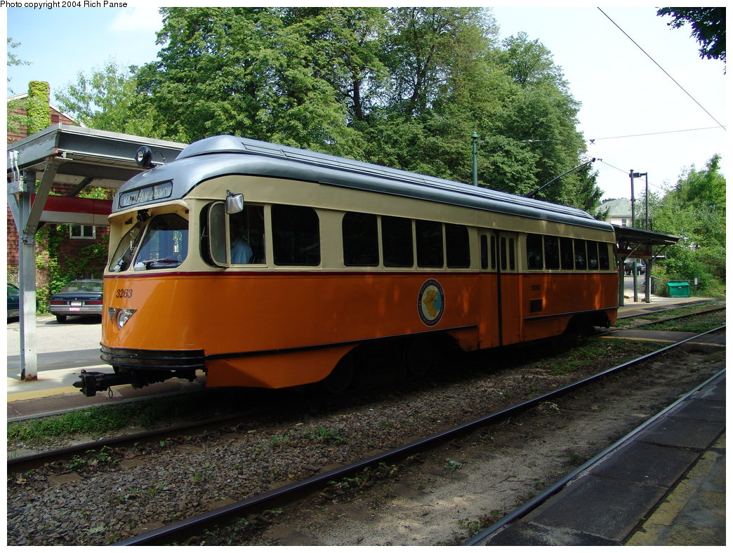 (269k, 1044x788)<br><b>Country:</b> United States<br><b>City:</b> Boston, MA<br><b>System:</b> MBTA<br><b>Line:</b> MBTA Mattapan-Ashmont Line<br><b>Location:</b> Cedar Grove <br><b>Car:</b> MBTA/BSRy PCC Wartime (Pullman-Standard, 1945-46)  3263 <br><b>Photo by:</b> Richard Panse<br><b>Date:</b> 5/21/2004<br><b>Viewed (this week/total):</b> 0 / 1707