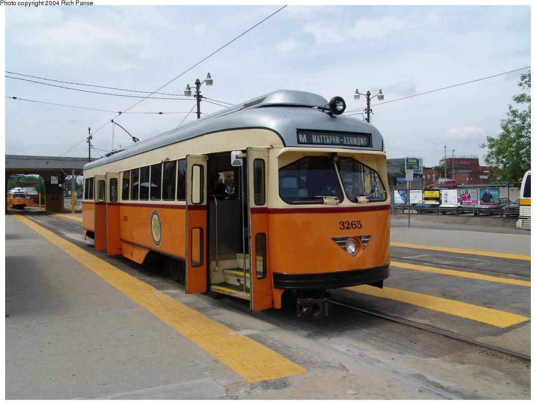 (160k, 1044x788)<br><b>Country:</b> United States<br><b>City:</b> Boston, MA<br><b>System:</b> MBTA<br><b>Line:</b> MBTA Mattapan-Ashmont Line<br><b>Location:</b> Mattapan <br><b>Car:</b> MBTA/BSRy PCC Wartime (Pullman-Standard, 1945-46)  3265 <br><b>Photo by:</b> Richard Panse<br><b>Date:</b> 5/21/2004<br><b>Viewed (this week/total):</b> 2 / 4099