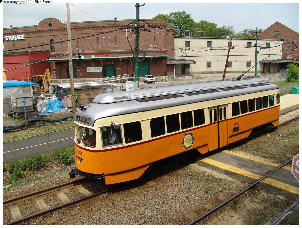 (262k, 1044x788)<br><b>Country:</b> United States<br><b>City:</b> Boston, MA<br><b>System:</b> MBTA<br><b>Line:</b> MBTA Mattapan-Ashmont Line<br><b>Location:</b> Milton <br><b>Car:</b> MBTA/BSRy PCC Wartime (Pullman-Standard, 1945-46)  3265 <br><b>Photo by:</b> Richard Panse<br><b>Date:</b> 5/21/2004<br><b>Viewed (this week/total):</b> 0 / 1943