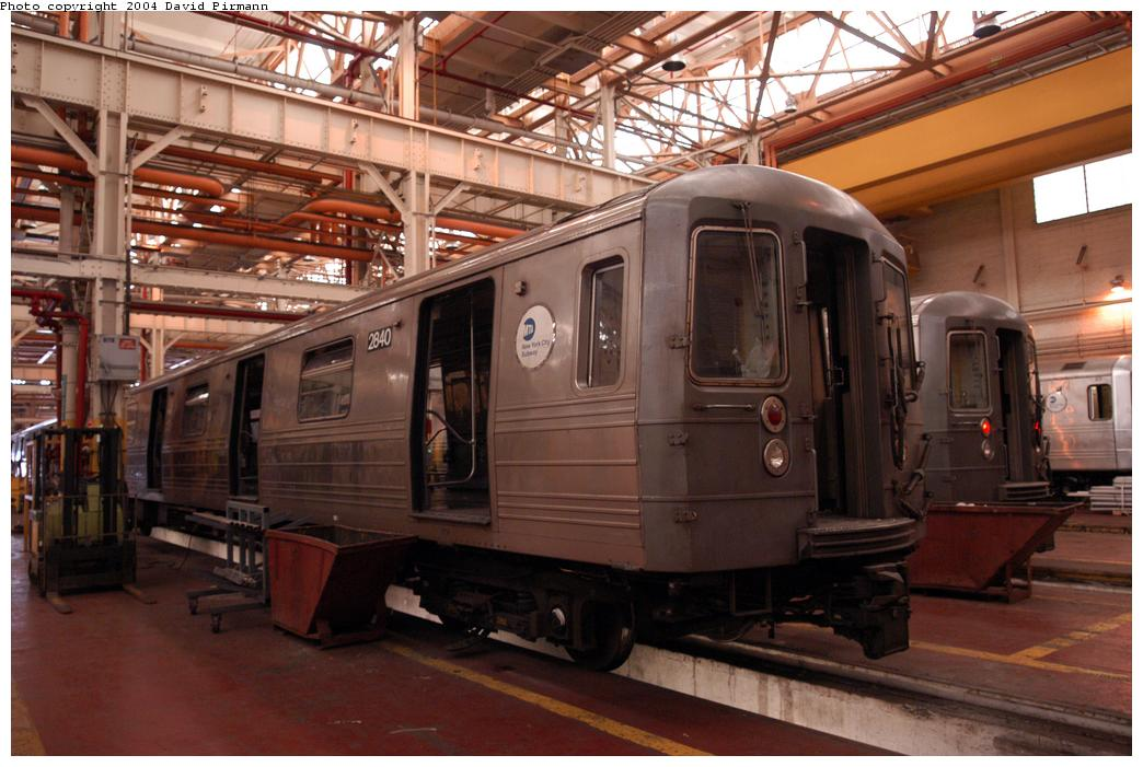 (153k, 1044x701)<br><b>Country:</b> United States<br><b>City:</b> New York<br><b>System:</b> New York City Transit<br><b>Location:</b> Coney Island Shop/Overhaul & Repair Shop<br><b>Car:</b> R-68 (Westinghouse-Amrail, 1986-1988)  2840 <br><b>Photo by:</b> David Pirmann<br><b>Date:</b> 6/13/2004<br><b>Viewed (this week/total):</b> 0 / 2680