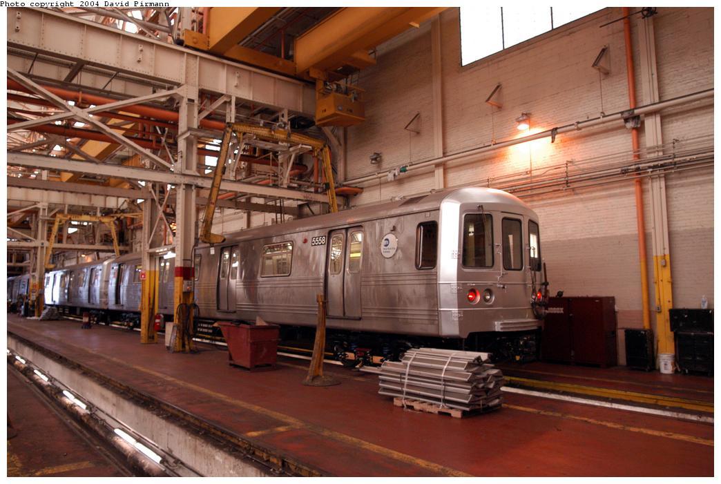 (155k, 1044x701)<br><b>Country:</b> United States<br><b>City:</b> New York<br><b>System:</b> New York City Transit<br><b>Location:</b> Coney Island Shop/Overhaul & Repair Shop<br><b>Car:</b> R-46 (Pullman-Standard, 1974-75) 5558 <br><b>Photo by:</b> David Pirmann<br><b>Date:</b> 6/13/2004<br><b>Viewed (this week/total):</b> 0 / 6118
