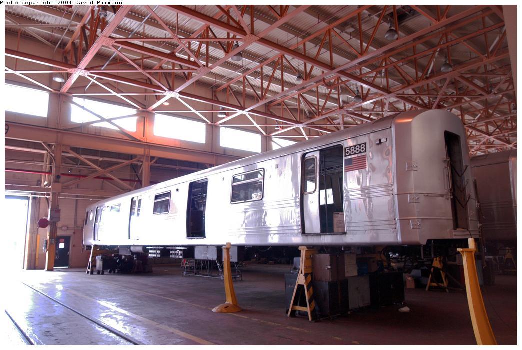 (160k, 1044x701)<br><b>Country:</b> United States<br><b>City:</b> New York<br><b>System:</b> New York City Transit<br><b>Location:</b> Coney Island Shop/Overhaul & Repair Shop<br><b>Car:</b> R-46 (Pullman-Standard, 1974-75) 5888 <br><b>Photo by:</b> David Pirmann<br><b>Date:</b> 6/13/2004<br><b>Viewed (this week/total):</b> 0 / 3575