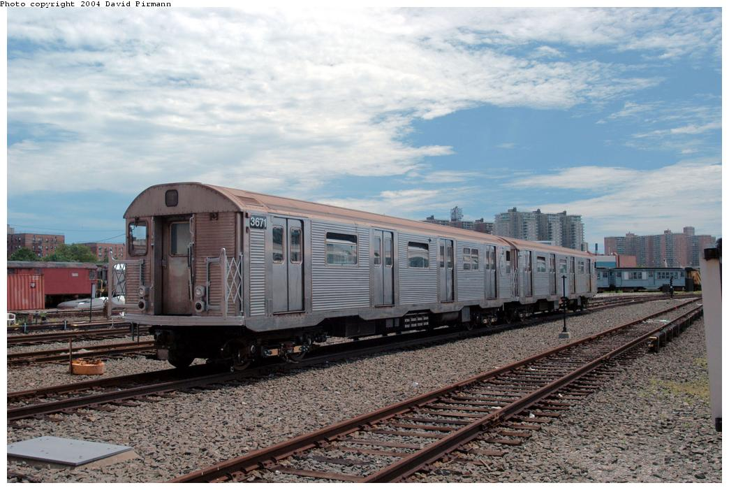 (176k, 1044x701)<br><b>Country:</b> United States<br><b>City:</b> New York<br><b>System:</b> New York City Transit<br><b>Location:</b> Coney Island Yard<br><b>Car:</b> R-32 (Budd, 1964)  3671 <br><b>Photo by:</b> David Pirmann<br><b>Date:</b> 6/13/2004<br><b>Viewed (this week/total):</b> 0 / 4589