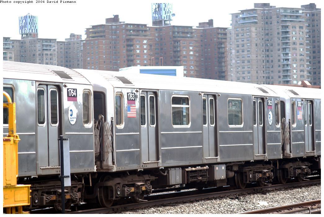 (169k, 1044x701)<br><b>Country:</b> United States<br><b>City:</b> New York<br><b>System:</b> New York City Transit<br><b>Location:</b> Coney Island Yard<br><b>Car:</b> R-62A (Bombardier, 1984-1987)  1763 <br><b>Photo by:</b> David Pirmann<br><b>Date:</b> 6/13/2004<br><b>Viewed (this week/total):</b> 0 / 4057