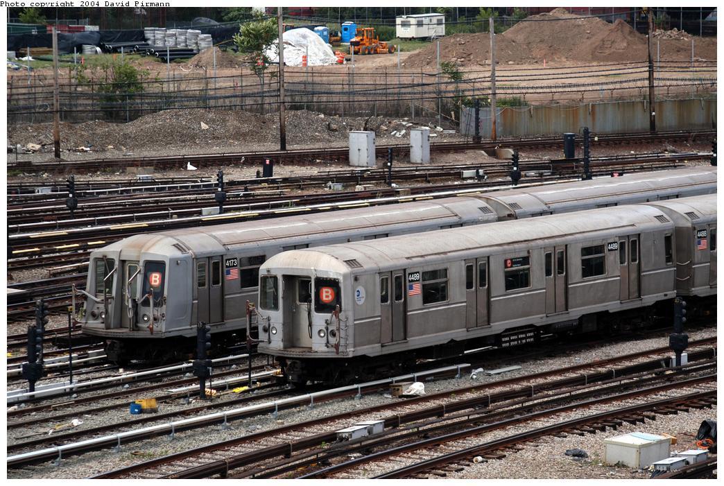 (226k, 1044x701)<br><b>Country:</b> United States<br><b>City:</b> New York<br><b>System:</b> New York City Transit<br><b>Location:</b> Coney Island Yard<br><b>Car:</b> R-40M (St. Louis, 1969)  4489 <br><b>Photo by:</b> David Pirmann<br><b>Date:</b> 6/13/2004<br><b>Notes:</b> With 4173<br><b>Viewed (this week/total):</b> 1 / 4318