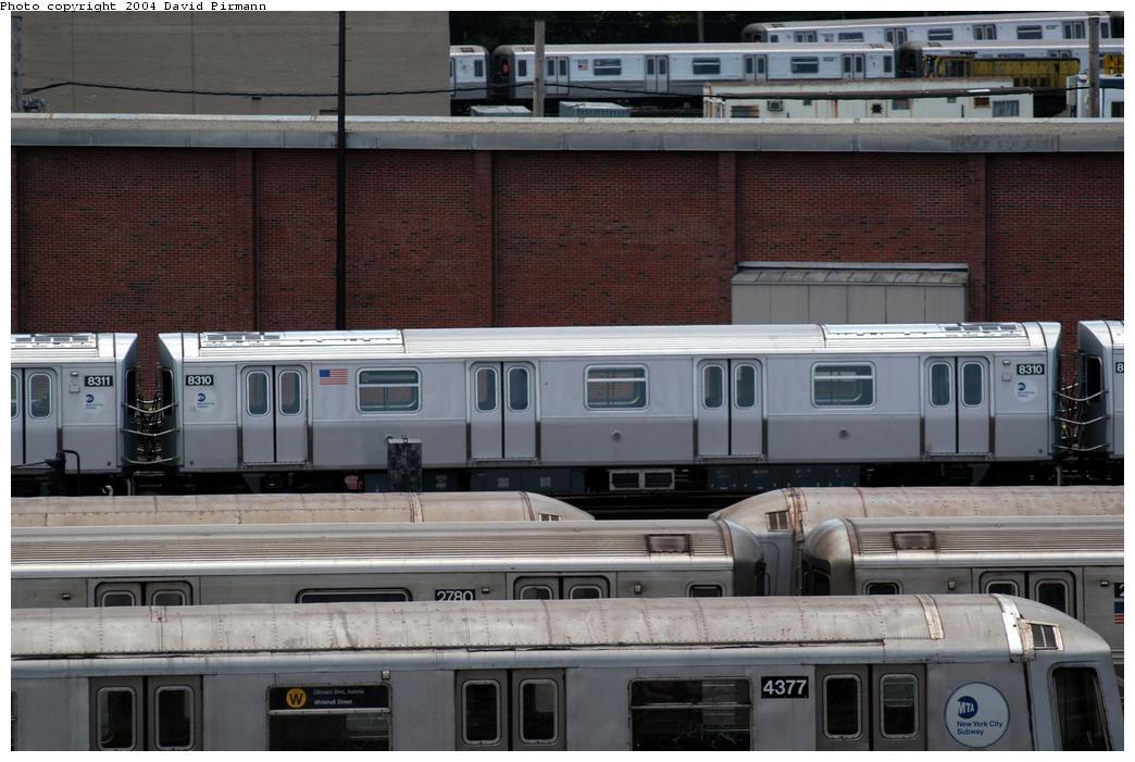 (167k, 1044x701)<br><b>Country:</b> United States<br><b>City:</b> New York<br><b>System:</b> New York City Transit<br><b>Location:</b> Coney Island Yard<br><b>Car:</b> R-143 (Kawasaki, 2001-2002) 8310 <br><b>Photo by:</b> David Pirmann<br><b>Date:</b> 6/13/2004<br><b>Viewed (this week/total):</b> 2 / 6498