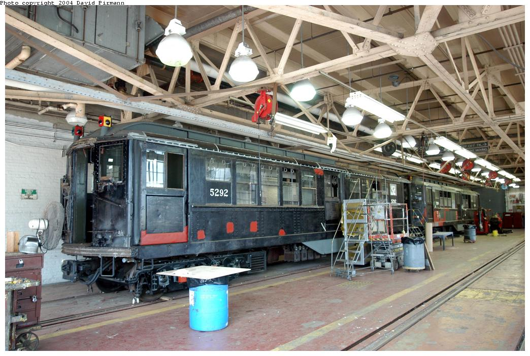 (184k, 1044x701)<br><b>Country:</b> United States<br><b>City:</b> New York<br><b>System:</b> New York City Transit<br><b>Location:</b> Coney Island Shop-Paint Shop<br><b>Car:</b> Low-V (Museum Train) 5292 <br><b>Photo by:</b> David Pirmann<br><b>Date:</b> 6/13/2004<br><b>Notes:</b> In the paint shop.<br><b>Viewed (this week/total):</b> 1 / 8059